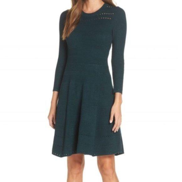Eliza J Sweater Fit & Flare Dress Emerald Green 4